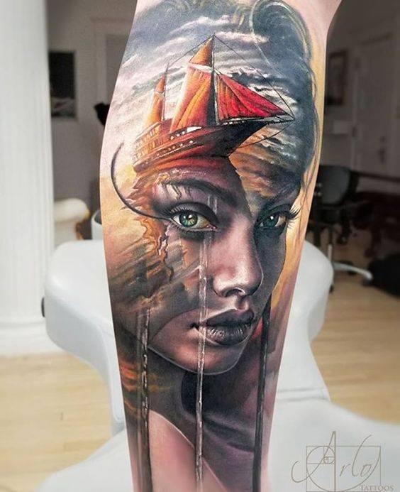 Surreal lady with ship arlo tattoos february 2018 for Arlo tattoo artist